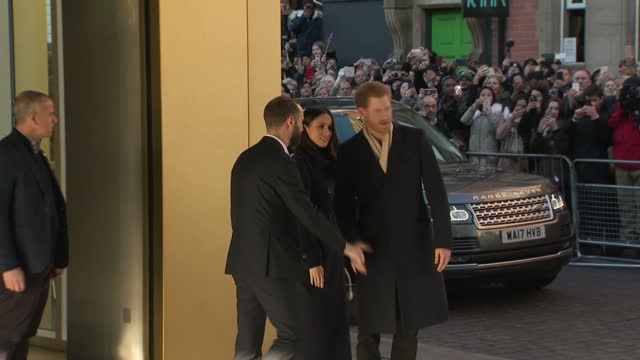 Exterior shots of Prince Harry and Meghan Markle departing from the Nottingham Contemporary after attending a Terrence Higgins Trust World AIDS Day...