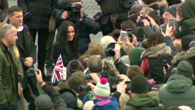 Exterior shots of Prince Harry and Meghan Markle greeting crowds outside Edinburgh Castle>> on February 13 2018 in Edinburgh Scotland