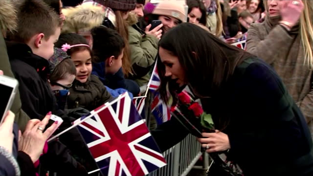Exterior shots of Prince Harry and Meghan Markle greeting crowds outside Edinburgh Castle>> on February 13 2018 in Edinburgh Scotland