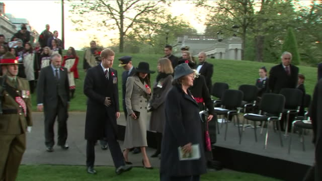 exterior shots of prince harry and meghan markle leave after anzac dawn service in hyde park corner on 25 april 2018 in london england - religious service stock videos and b-roll footage