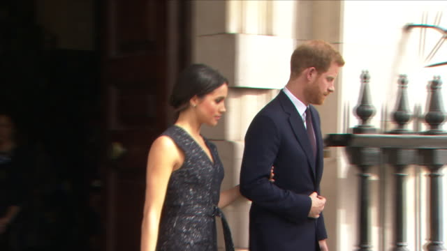 exterior shots of prince harry and meghan markle leaving after memorial service marking the 25year anniversary of the murder of stephen lawrence at... - königshaus stock-videos und b-roll-filmmaterial