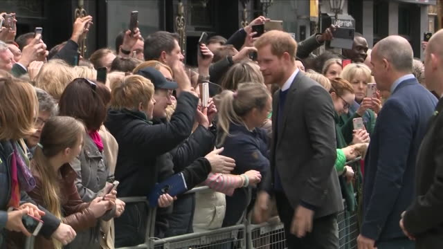 Exterior shots of Prince Harry and Meghan Markle on a walkabout of Belfast meeting members of the public on 23 March 2018 in Belfast Northern Ireland