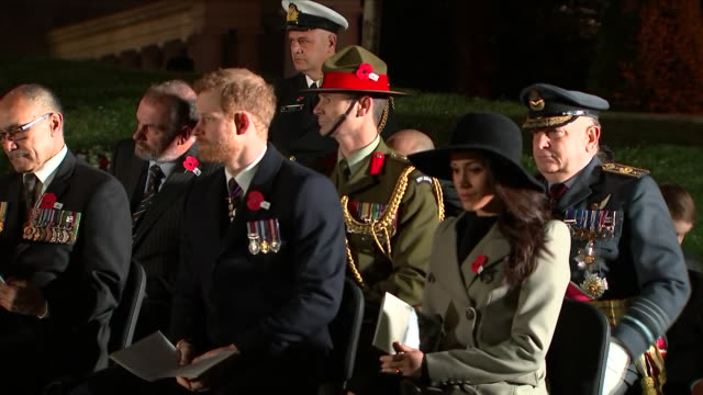 exterior shots of prince harry and meghan markle take their place at anzac dawn service in hyde park corner on 25 april 2018 in london england - 礼拝点の映像素材/bロール