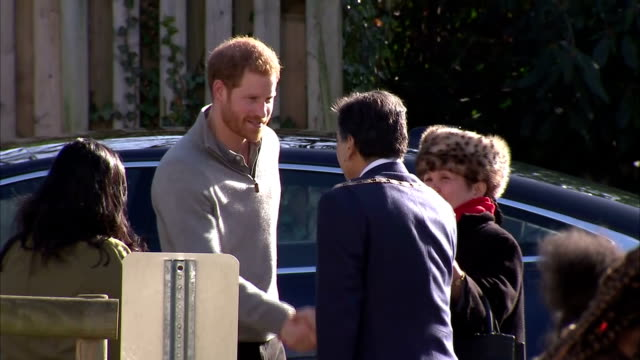 Exterior shots of Prince Harry arriving at Roundwood Youth Centre to visit a Fit and Fed February halfterm holiday activity programme>> on February...