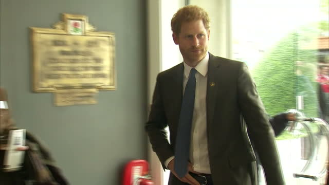 Exterior shots of Prince Harry arriving at Twickenham Stadium amid cheering fans on 29 April 2017 in Twickenham United Kingdom