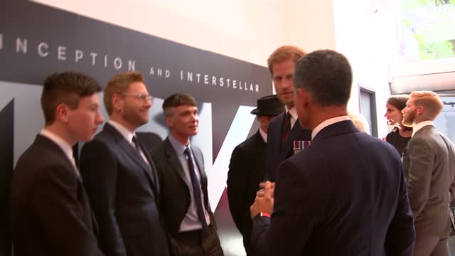 Exterior shots of Prince Harry at the premiere of Dunkirk greeting cast members including Harry Styles on 13 July 2017 in London United Kingdom