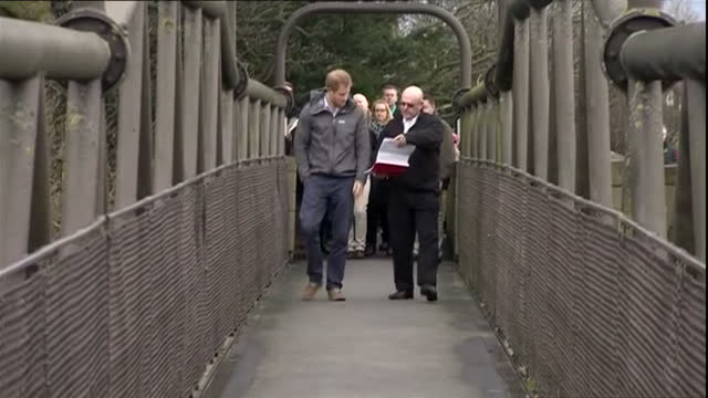 Exterior shots of Prince Harry being shown round the village of St Michael on Wyre visiting areas effected by the bad weather and flooding chatting...