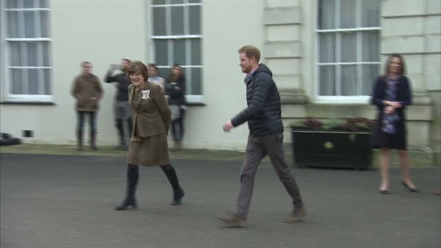 exterior shots of prince harry departing a help for heroes recovery centre in wiltshire on january 23, 2017 in tidworth, england. - tidworth stock videos & royalty-free footage