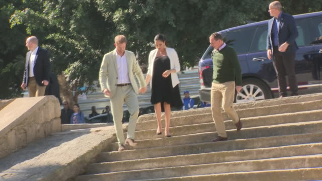 exterior shots of prince harry duke of sussex and meghan duchess of sussex arriving at the andalusian gardens on 25th february 2019 in rabat morocco - rabat morocco stock videos & royalty-free footage