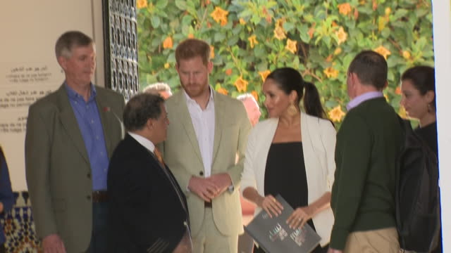 Exterior shots of Prince Harry Duke of Sussex and Meghan Duchess of Sussex entering the Andalusian Gardens on 25th February 2019 in Rabat Morocco
