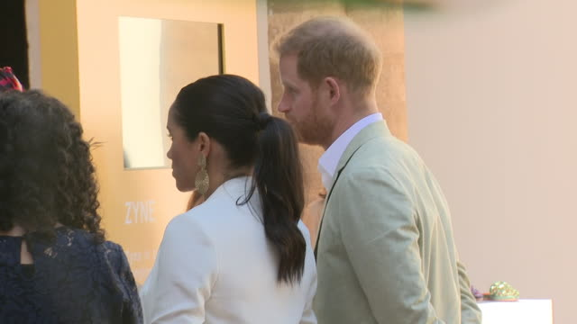 Exterior shots of Prince Harry Duke of Sussex and Meghan Duchess of Sussex visit the Andalusian Gardens on 25th February 2019 in Rabat Morocco