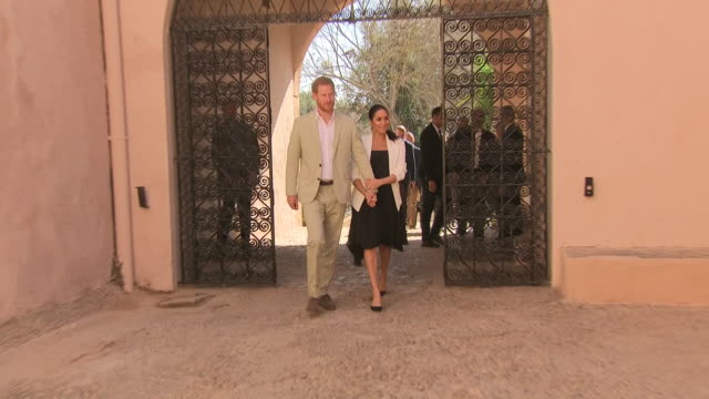 exterior shots of prince harry duke of sussex and meghan duchess of sussex depart from the andalusian gardens on 25th february 2019 in rabat morocco - rabat morocco stock videos & royalty-free footage