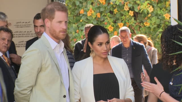 exterior shots of prince harry duke of sussex and meghan duchess of sussex visit the andalusian gardens on 25th february 2019 in rabat morocco - prince harry stock videos & royalty-free footage