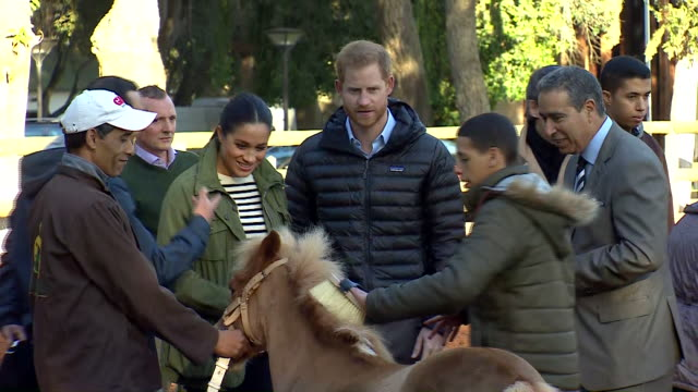 Exterior shots of Prince Harry Duke of Sussex and Meghan Duchess of Sussex on their visit to Moroccan Royal Federation of Equestrian Sports on 25th...