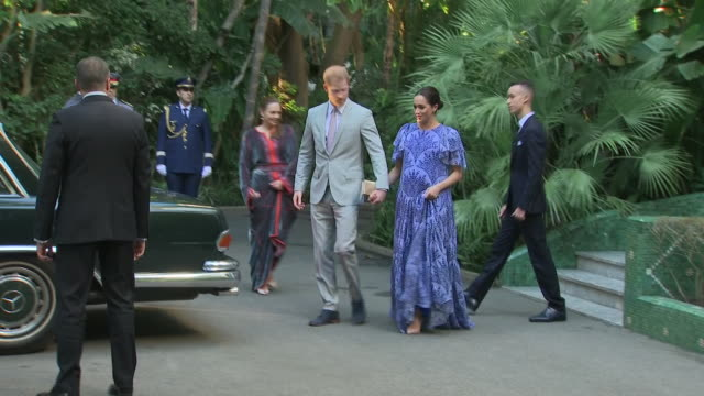 Exterior shots of Prince Harry Duke of Sussex and Meghan Duchess of Sussex departing after audience with King Mohammed VI of Morocco on 25th February...