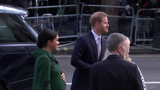 exterior shots of prince harry duke of sussex and meghan duchess of sussex arrive for commonwealth day event at canada house on 11 march 2019 in... - prince harry stock videos & royalty-free footage