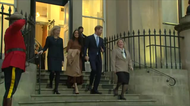exterior shots of prince harry duke of sussex and meghan duchess of sussex departing canada house after visit on january 07 2020 london england - prince harry stock videos & royalty-free footage