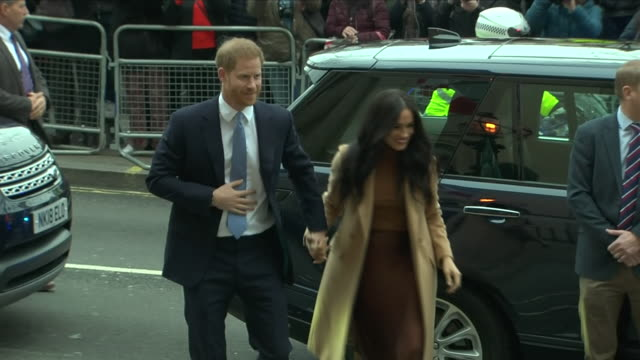 exterior shots of prince harry duke of sussex and meghan duchess of sussex arriving at canada house and greeted by canada's high commissioner for... - prince harry stock videos & royalty-free footage