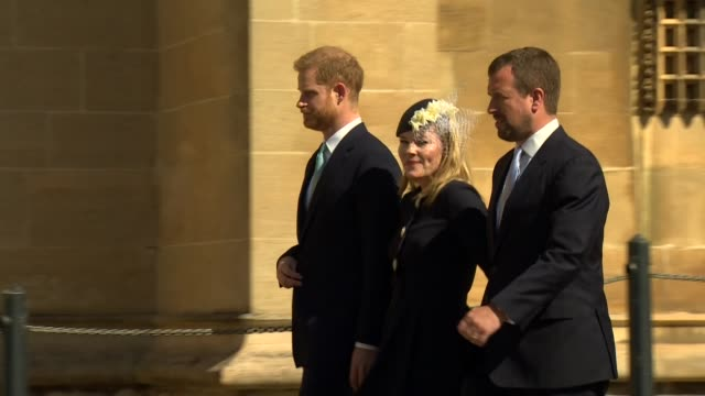 exterior shots of prince harry duke of sussex peter phillips and autumn phillips arriving for an easter sunday service at st george's chapel in... - religious service stock videos & royalty-free footage