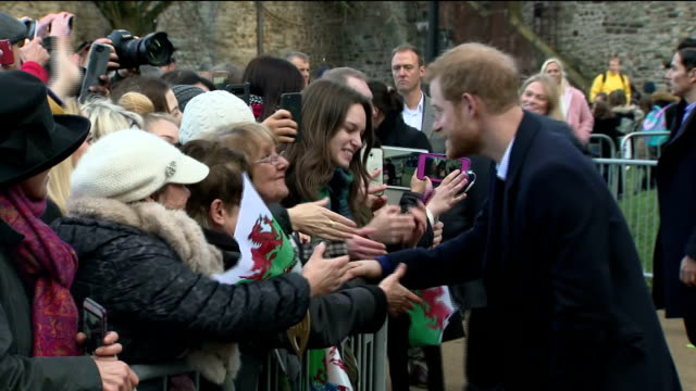 Exterior shots of Prince Harry greeting members of the public during a visit to Cardiff>> on January 18 2018 in Cardiff Wales