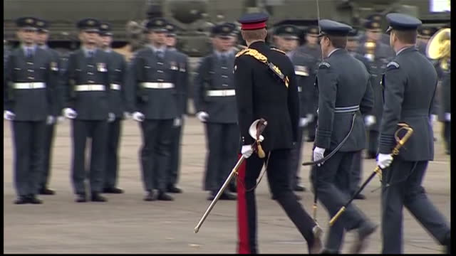 exterior shots of prince harry honorary air commandant at raf honington walking at parade to present no 26 squadron with new standard on november 13... - bury st edmunds stock videos & royalty-free footage