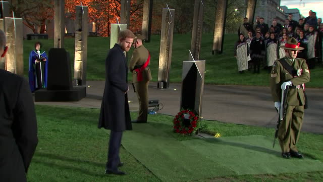 exterior shots of prince harry laying wreaths at anzac dawn service in hyde park corner on 25 april 2018 in london england - religious service stock videos & royalty-free footage