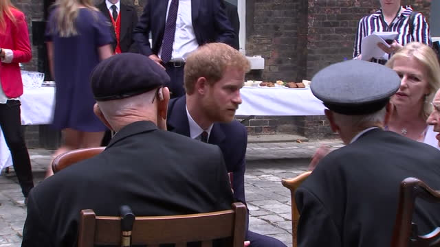 Exterior shots of Prince Harry meeting a group of WW2 veterans Sidney Spalding from Colchester who was abandoned on the beach in Dunkirk by his...