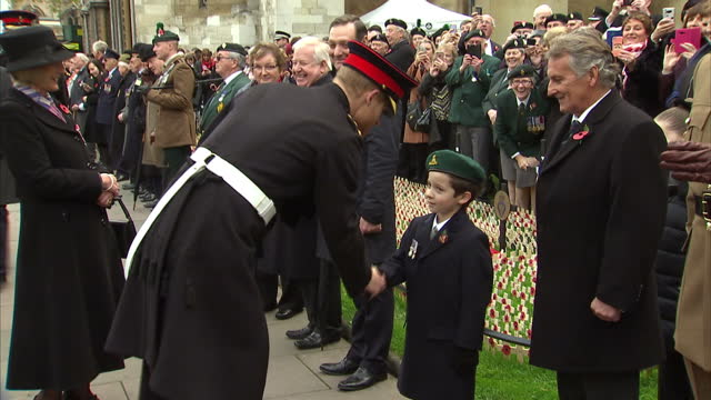 Exterior shots of Prince Harry meeting military veterans during a visit to the Field of Remembrance at Westminster Abbey and stopping to speak to a...