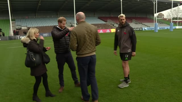exterior shots of prince harry posing for photos with former wales rugby captain gareth thomas and chris robshaw of harlequins at an event ahead of... - gareth thomas rugby player stock videos & royalty-free footage