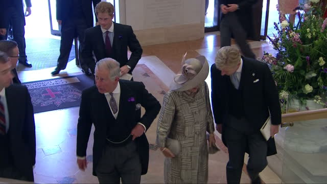 Exterior shots of Prince Harry Prince William and Catherine Duchess of Cambridge arrive at Guildhall with Prince Charles and Camilla walking through...