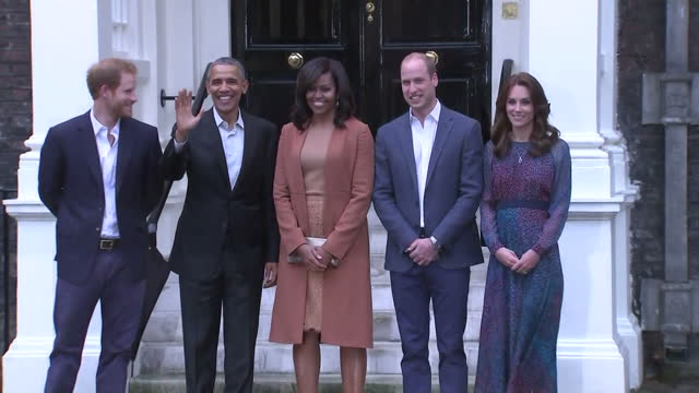 Exterior shots of Prince Harry Prince William Catherine Duchess of Cambridge First Lady Michelle Obama and the US President Barack Obama pose...