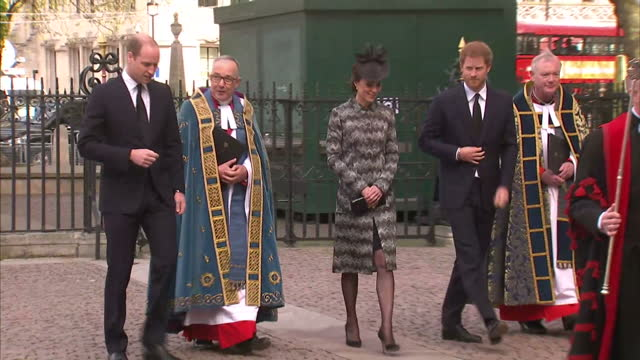 Exterior shots of Prince Harry Prince William Duke of Cambridge Catherine Duchess of Cambridge walk into Westminster Abbey for a service to remember...