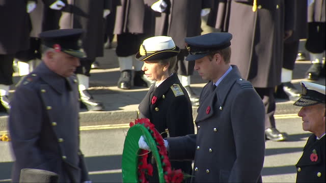 exterior shots of prince harry prince william the duke of cambridge prince edward the earl of wessex and princess anne the princess royal laying... - remembrance sunday stock videos and b-roll footage
