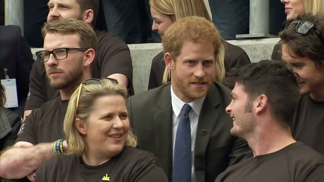 Exterior shots of Prince Harry sat in stands for the Army v Navy rugby match at Twickenham Stadium on 29 April 2017 in Twickenham United Kingdom