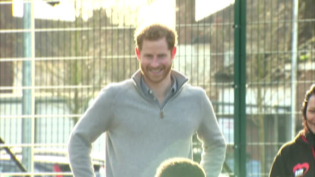 Exterior shots of Prince Harry speaking to coaches and children taking part in activities during a visit to a Fit and Fed February halfterm holiday...