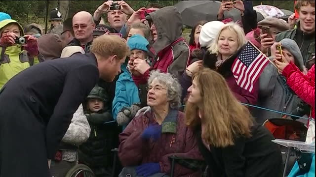 Exterior shots of Prince Harry speaking to members of the public outside Sandringham Church after attending the Christmas Morning service>> on...