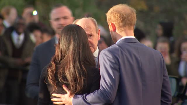 Exterior shots of Prince Harry speaking to staff and officials before departing from Nottingham Academy following a visit to see the work of the Full...