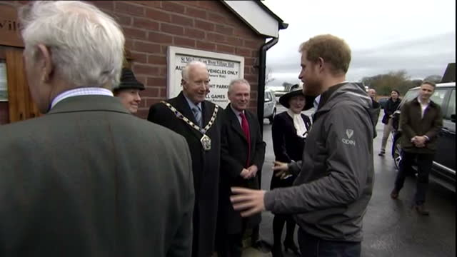 Exterior shots of Prince Harry visiting house effected by the bad weather and flooding and chatting with residents in village of St Michael on Wyre...