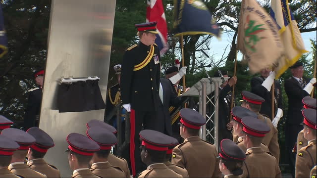 exterior shots of prince harry walking to the front of the world war 1 centenary service and standing on the podium in front of hundreds of military... - military uniform stock videos & royalty-free footage
