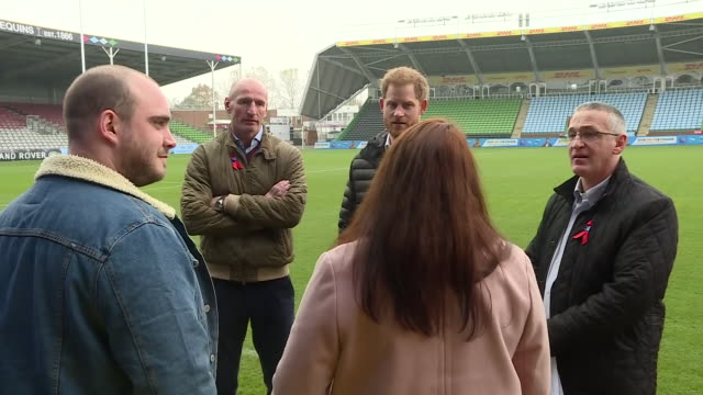 exterior shots of prince harry with former wales rugby captain gareth thomas on the pitch of twickenham stoop meeting others at an event ahead of... - gareth thomas rugby player stock videos & royalty-free footage