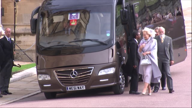 exterior shots of prince michael of kent with princess michael of kent arriving at the wedding of jack brooksbank and princess eugenie on 12 october... - princess michael of kent stock videos and b-roll footage