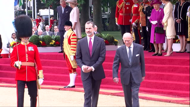 Exterior shots of Prince Philip Duke of Edinborough and King Felipe of Spain inspecting the guard of honour during a ceremony on Horseguards Parade...