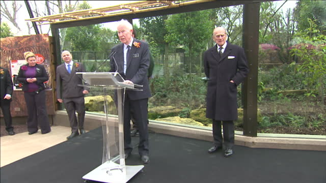 Exterior shots of Prince Philip Duke of Edinburgh and ZSL London Zoo officials walk to podium before making speeches Prince Philip at London Zoo at...