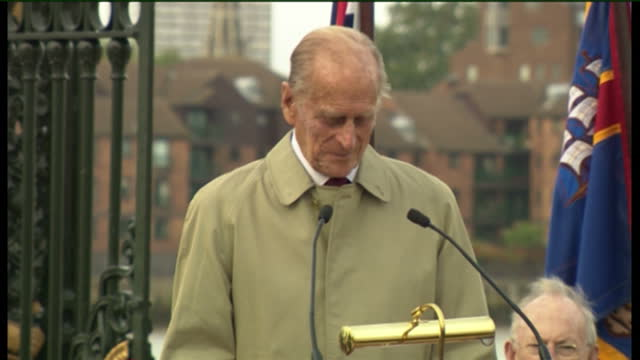 exterior shots of prince philip duke of edinburgh at an official renaming ceremony of the clipper ship from hms carrick to city of adelaide on... - prince philip stock videos & royalty-free footage