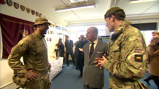 stockvideo's en b-roll-footage met exterior shots of prince philip duke of edinburgh on visit to grenadier guards on february 24 2014 in aldershot england - aldershot