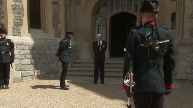 exterior shots of prince philip, the duke of edinburgh, at windsor in a ceremony maring the handover of his patronage of the rifles to camilla,... - duke of edinburgh stock videos & royalty-free footage