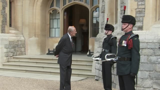 exterior shots of prince philip, the duke of edinburgh, at windsor in a ceremony maring the handover of his patronage of the rifles to camilla,... - rifle stock videos & royalty-free footage