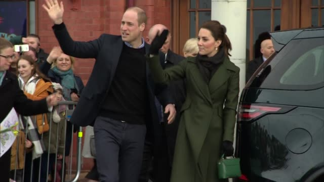 exterior shots of prince william and catherine, duchess of cambridge saying their final goodbyes to well-wishers before departing the blackpool tower... - blackpool stock-videos und b-roll-filmmaterial