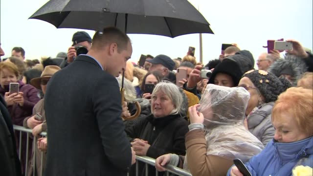 exterior shots of prince william and catherine duchess of cambridge greeting wellwishers in blackpool on 6 march 2019 united kingdom - blackpool stock-videos und b-roll-filmmaterial