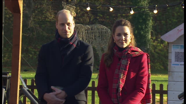 exterior shots of prince william and catherine duchess of cambridge on their tour in wales on 8 december 2020 in cardiff, united kingdom - ウィリアム王子点の映像素材/bロール